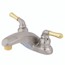 "Kingston Brass Two Handle 4"" Centerset Lavatory Faucet - Satin Nickel/Polished Brass"