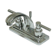 """Kingston Brass Two Handle 4"""" Centerset Lavatory Faucet with Brass Pop-Up Drain - Polished Chrome"""