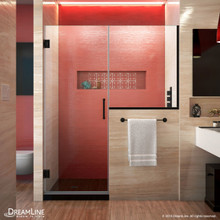 DreamLine SHDR-24303034-09 Unidoor Plus 60-60 1/2 in. W x 72 in. H Frameless Hinged Shower Door with 34 in. Half Panel in Satin Black