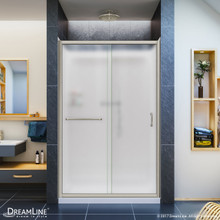 DreamLine DL-6107C-04FR Infinity-Z 36 in. D x 48 in. W x 76 3/4 in. H Frosted Sliding Shower Door in Brushed Nickel, Center Drain Base, Backwall