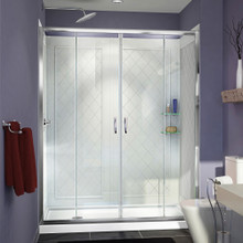DreamLine DL-6113L-01CL Visions 32 in. D x 60 in. W x 76 3/4 in. H Sliding Shower Door in Chrome with Left Drain White Base, Backwalls