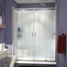 DreamLine DL-6113R-01CL Visions 32 in. D x 60 in. W x 76 3/4 in. H Sliding Shower Door in Chrome with Right Drain White Base, Backwalls