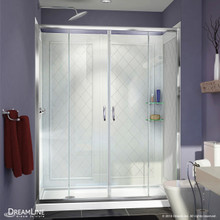 DreamLine DL-6114L-01CL Visions 34 in. D x 60 in. W x 76 3/4 in. H Sliding Shower Door in Chrome with Left Drain White Base, Backwalls