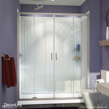 DreamLine DL-6114L-04CL Visions 34 in. D x 60 in. W x 76 3/4 in. H Sliding Shower Door in Brushed Nickel with Left Drain White Base, Backwalls