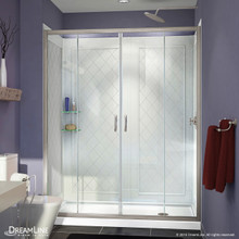 DreamLine DL-6114R-04CL Visions 34 in. D x 60 in. W x 76 3/4 in. H Sliding Shower Door in Brushed Nickel with Right Drain White Base, Backwalls