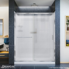 DreamLine DL-6116L-01FR Infinity-Z 30 in. D x 60 in. W x 76 3/4 in. H Frosted Sliding Shower Door in Chrome, Left Drain Base and Backwalls