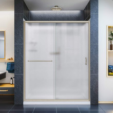 DreamLine DL-6117L-04FR Infinity-Z 32 in. D x 60 in. W x 76 3/4 in. H Frosted Sliding Shower Door in Brushed Nickel, Left Drain Base, Backwalls