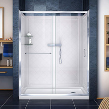 DreamLine DL-6117R-01CL Infinity-Z 32 in. D x 60 in. W x 76 3/4 in. H Clear Sliding Shower Door in Chrome, Right Drain Base and Backwalls