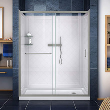 DreamLine DL-6117R-04CL Infinity-Z 32 in. D x 60 in. W x 76 3/4 in. H Clear Sliding Shower Door in Brushed Nickel, Right Drain Base, Backwalls