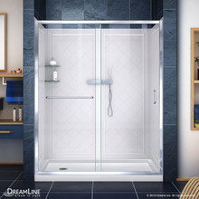 DreamLine DL-6118L-01CL Infinity-Z 34 in. D x 60 in. W x 76 3/4 in. H Clear Sliding Shower Door in Chrome, Left Drain Base and Backwalls