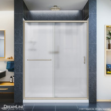 DreamLine DL-6118L-04FR Infinity-Z 34 in. D x 60 in. W x 76 3/4 in. H Frosted Sliding Shower Door in Brushed Nickel, Left Drain Base, Backwalls