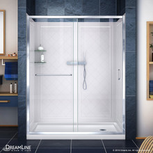 DreamLine DL-6118R-01CL Infinity-Z 34 in. D x 60 in. W x 76 3/4 in. H Clear Sliding Shower Door in Chrome, Right Drain Base and Backwalls
