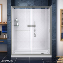 DreamLine DL-6118R-04CL Infinity-Z 34 in. D x 60 in. W x 76 3/4 in. H Clear Sliding Shower Door in Brushed Nickel, Right Drain Base, Backwalls
