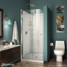 DreamLine DL-6526-01 Aqua Fold 36 in. D x 36 in. W x 76 3/4 in. H Frameless Bi-Fold Shower Door in Chrome with White Base and Backwall Kit