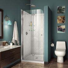 DreamLine DL-6527-01 Aqua Fold 32 in. D x 32 in. W x 76 3/4 in. H Bi-Fold Shower Door in Chrome with White Acrylic Base and Backwall Kit
