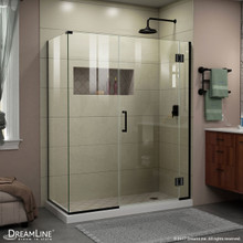 DreamLine E12306534-09 Unidoor-X 35 1/2 in. W x 34 3/8 in. D x 72 in. H Frameless Hinged Shower Enclosure in Satin Black