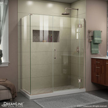 DreamLine E12330534-04 Unidoor-X 59 1/2 in. W x 34 3/8 in. D x 72 in. H Frameless Hinged Shower Enclosure in Brushed Nickel