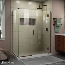 DreamLine E12330534-06 Unidoor-X 59 1/2 in. W x 34 3/8 in. D x 72 in. H Frameless Hinged Shower Enclosure in Oil Rubbed Bronze