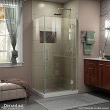 DreamLine E12334-04 Unidoor-X 29 3/8 in. W x 34 in. D x 72 in. H Frameless Hinged Shower Enclosure in Brushed Nickel