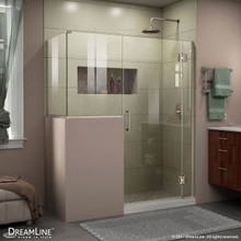 DreamLine E124303436-04 Unidoor-X 60 in. W x 36 3/8 in. D x 72 in. H Frameless Hinged Shower Enclosure in Brushed Nickel