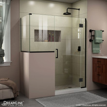 DreamLine E124303436-09 Unidoor-X 60 in. W x 36 3/8 in. D x 72 in. H Frameless Hinged Shower Enclosure in Satin Black