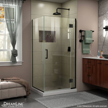 DreamLine E12434-09 Unidoor-X 30 3/8 in. W x 34 in. D x 72 in. H Frameless Hinged Shower Enclosure in Satin Black