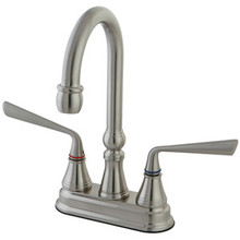 "Kingston Brass Two Handle 4"" Centerset Bar Faucet - Satin Nickel"