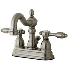 "Kingston Brass Two Handle 4"" Center Lavatory Faucet with Pop-Up Drain Drain - Satin Nickel"