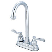 "Kingston Brass Two Handle 4"" Centerset Bar Faucet - Polished Chrome"