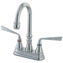 "Kingston Brass Two Handle 4"" Centerset Bar Faucet - Polished Chrome KS2491ZL"