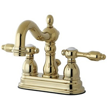"Kingston Brass Two Handle 4"" Center Lavatory Faucet With Brass Pop-Up Drain - Polished Brass"