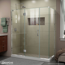 DreamLine E32614534L-01 Unidoor-X 64 1/2 in. W x 34 3/8 in. D x 72 in. H Frameless Hinged Shower Enclosure in Chrome