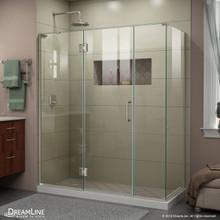 DreamLine E32614534L-04 Unidoor-X 64 1/2 in. W x 34 3/8 in. D x 72 in. H Frameless Hinged Shower Enclosure in Brushed Nickel
