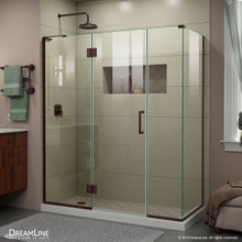 DreamLine E32614534L-06 Unidoor-X 64 1/2 in. W x 34 3/8 in. D x 72 in. H Frameless Hinged Shower Enclosure in Oil Rubbed Bronze