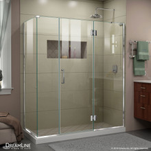 DreamLine E32614534R-01 Unidoor-X 64 1/2 in. W x 34 3/8 in. D x 72 in. H Frameless Hinged Shower Enclosure in Chrome