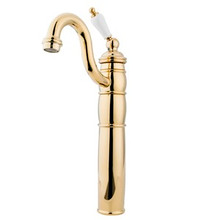 Kingston Brass Single Handle Vessel Sink Faucet with Optional Cover Plate - Polished Brass KB1422PL