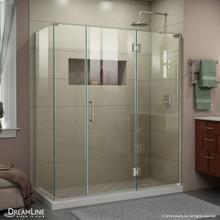 DreamLine E32614534R-04 Unidoor-X 64 1/2 in. W x 34 3/8 in. D x 72 in. H Frameless Hinged Shower Enclosure in Brushed Nickel