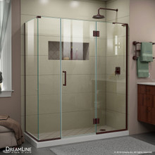 DreamLine E32614534R-06 Unidoor-X 64 1/2 in. W x 34 3/8 in. D x 72 in. H Frameless Hinged Shower Enclosure in Oil Rubbed Bronze