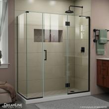 DreamLine E32614534R-09 Unidoor-X 64 1/2 in. W x 34 3/8 in. D x 72 in. H Frameless Hinged Shower Enclosure in Satin Black