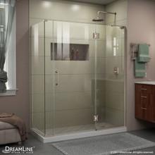 DreamLine E32706534R-04 Unidoor-X 57 1/2 in. W x 34 3/8 in. D x 72 in. H Frameless Hinged Shower Enclosure in Brushed Nickel