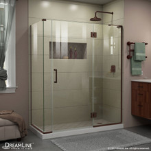 DreamLine E32706534R-06 Unidoor-X 57 1/2 in. W x 34 3/8 in. D x 72 in. H Frameless Hinged Shower Enclosure in Oil Rubbed Bronze