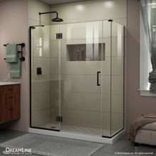 DreamLine E3280634L-09 Unidoor-X 58 in. W x 34 3/8 in. D x 72 in. H Frameless Hinged Shower Enclosure in Satin Black