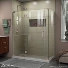 DreamLine E32806530L-04 Unidoor-X 58 1/2 in. W x 30 3/8 in. D x 72 in. H Frameless Hinged Shower Enclosure in Brushed Nickel