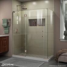 DreamLine E32806534L-04 Unidoor-X 58 1/2 in. W x 34 3/8 in. D x 72 in. H Frameless Hinged Shower Enclosure in Brushed Nickel