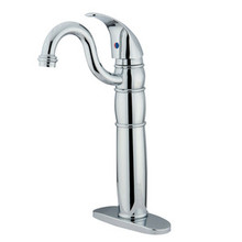 Kingston Brass Single Handle Vessel Sink Faucet with Optional Cover Plate - Polished Chrome KB1421LL