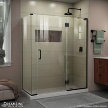 DreamLine E32806534R-09 Unidoor-X 58 1/2 in. W x 34 3/8 in. D x 72 in. H Frameless Hinged Shower Enclosure in Satin Black