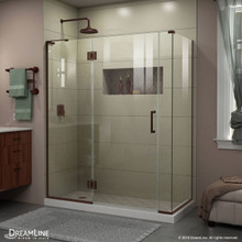DreamLine E3290634L-06 Unidoor-X 59 in. W x 34 3/8 in. D x 72 in. H Frameless Hinged Shower Enclosure in Oil Rubbed Bronze