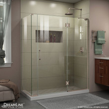 DreamLine E32906534R-04 Unidoor-X 59 1/2 in. W x 34 3/8 in. D x 72 in. H Frameless Hinged Shower Enclosure in Brushed Nickel