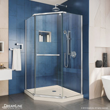 DreamLine DL-6030-22-01 Prism 36 in. D x 36 in. W x 74 3/4 H Frameless Pivot Shower Enclosure in Chrome and Corner Drain Biscuit Base Kit