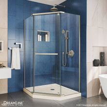 DreamLine DL-6031-22-04 Prism 38 in. D x 38 in. W x 74 3/4 H Frameless Pivot Shower Enclosure in Brushed Nickel and Corner Drain Biscuit Base
